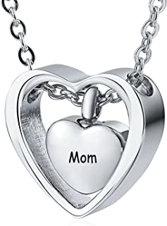 Urn Necklace for Women Men Stainless Steel Double Heart Families Cremation Jewelry 4 Colors