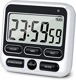 KTKUDY Digital Kitchen Timer with Mute/Loud Alarm Switch ON/Off Switch, 12 Hour Clock & Alarm, Memory Function Count Up & ...