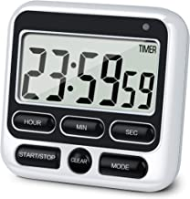 KTKUDY Digital Kitchen Timer with Mute/Loud Alarm Switch ON/OFF Switch, 12 Hour Clock & Alarm, Memory Function Count Up & Count Down for Kids Teachers Cooking, Large LCD Display, Strong Magnet (1)