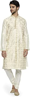 Ethnix by Raymond Men's Light Yellow Kurta Set