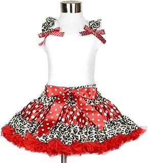 White Cotton Shirt Red White Leopard Polka Dot Pettiskirt Girl Clothing Set 1-8y
