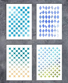 GSS Designs Patterns Stencil Template Set(4 Pack)- Geometric Figure A5(6x8.25 Inch) - Painting for Scrapbooks Card Making Canvas Tattos Cakes Walls Furniture Cars Motorcycle(SL-041)