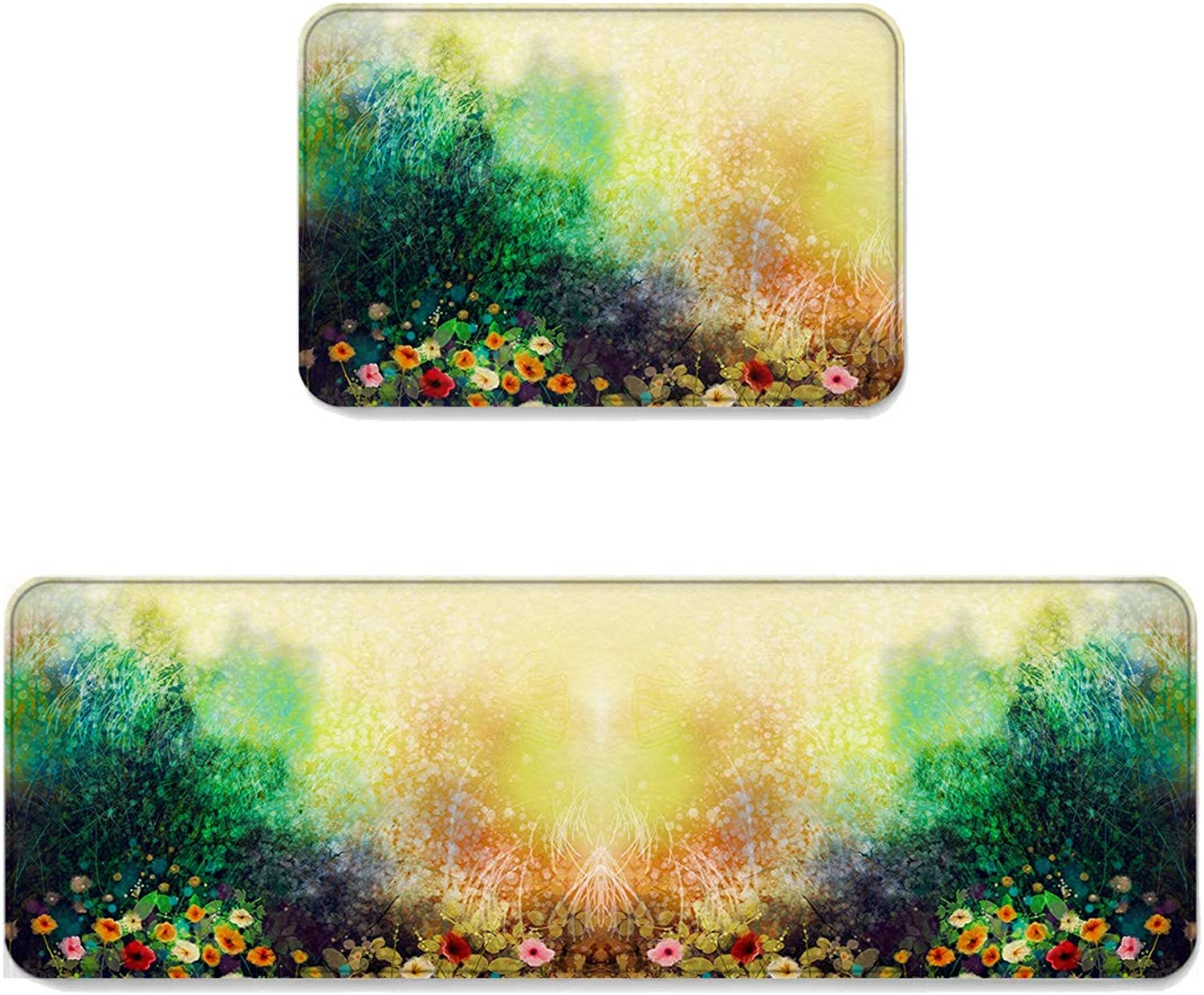 Fantasy Star Kitchen Rug Sets 2 Piece Floor Mats Non-Slip Rubber Backing Area Rugs Sparkling Flowers and Grass Doormat Washable Carpet Inside Door Mat Pad Sets (23.6  x 35.4 +23.6  x 70.9 )