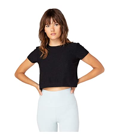 Beyond Yoga Back Out Cropped Tee (Darkest Night) Women