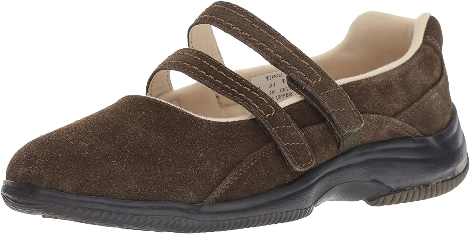 Propet Women's Twilight Mary Jane Flat Olive Suede 7 Wide US