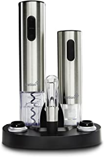 Ivation Wine Gift Set, Includes Stainless Steel Electric Wine Bottle Opener, Wine Aerator, Electric Vacuum Wine Preserver, 2 Bottle Stoppers, Foil Cutter & LED Charging Base