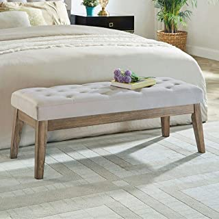24KF Velvet Upholstered Tufted Bench with Solid Wood Leg,Ottoman with Padded Seat-Taupe