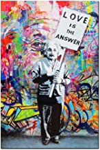 DINGDONG ART- Framed Art Einstein Poster Love is The Answer Wall Art Painting Abstract Street Graffiti Art Canvas Artwork for Living Room Decor 1 Pcs (16