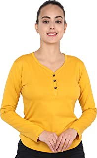 JUNEBERRY 100% Cotton Stylish Solid V-Neck Full Sleeve T-Shirt for Women/Girls