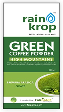Rainkrop Green Coffee Beans Powder for weight loss. 300 Gram.Made with Arabica Green Coffee beans cultivated with natural rain water.