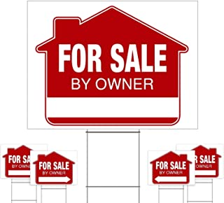 """For Sale By Owner Yard Sign (5 Pack) – PRO Home For Sale Sign Kit With 5 Double-Sided Real Estate Signs & 5 Heavy Duty Yard Stakes (Large 18"""" x 24"""" Size) – NEW!"""