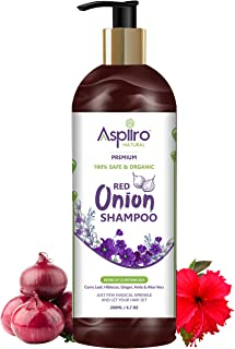 Aspiiro Natural Organic Red Onion Shampoo For Hair Fall Rescue & Hair Growth-200 ml | SLS, Paraben & Chemical Free