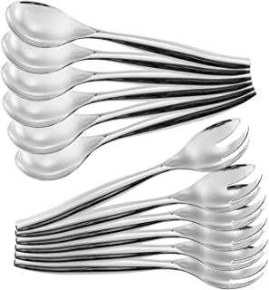 "ChefCity Set of 12 - Heavy Duty Disposable Plastic Serving Utensils, Six Large 10"" Spoons, Six Large 10"