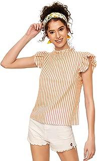 Women's Cotton Stripe Ruffle Sleeve Elegant Blouse Summer Top