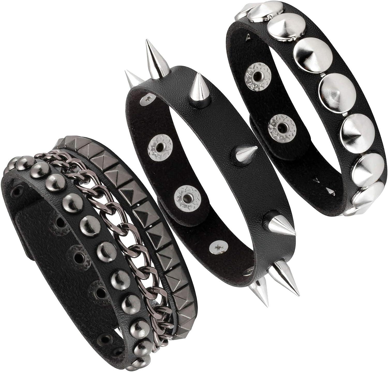 Milakoo 3 Pcs Black Leather Punk Rock Bracelets with Spike Studded Rivet Chain Engraved Wristband
