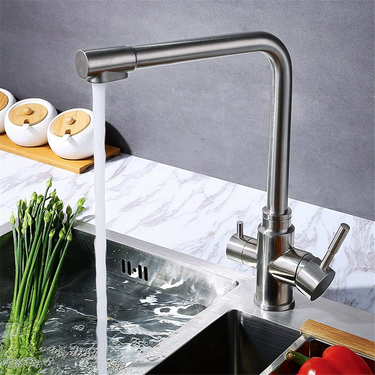 Lalaky Taps Faucet Kitchen Mixer Sink Waterfall Bathroom Mixer Basin Mixer Tap for Kitchen Bathroom and Washroom Hot and Cold Stainless Steel redating Water