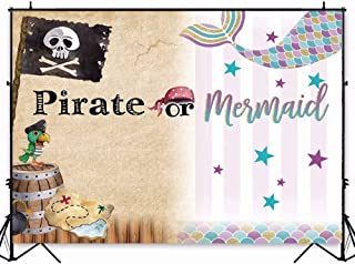 7x5ft Kids Birthday Backdrop Pirate and Mermaid Theme Photography Background Cake Table Banner Decorations Baby Shower Photo Studio Booth W-1984