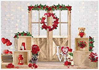 DaShan 7x5ft Polyester Rustic Wedding Bridal Shower Valentines Day Backdrop Love Red Heart Engagement Anniversary Photography Background Baby Newborn Wall Decor Girl Love Couple YouTube Photo Props