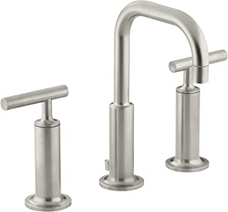 KOHLER K-14407-4-BN Purist Widespread Lavatory Faucet with Low Gooseneck and High Lever Handles, Vibrant Brushed Nickel