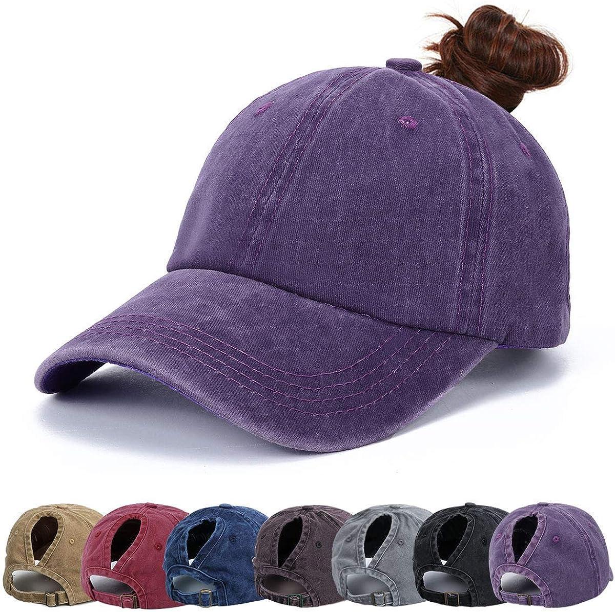Walea Baseball Cap Ponytail Cap Washed Vintage Hat Adjustable Retro Unisex Cap
