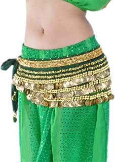 Women's Belly Dance Hip Scarf with 338 Gold Tone Coins Hip Belt Skirt for Belly Dancing Costume