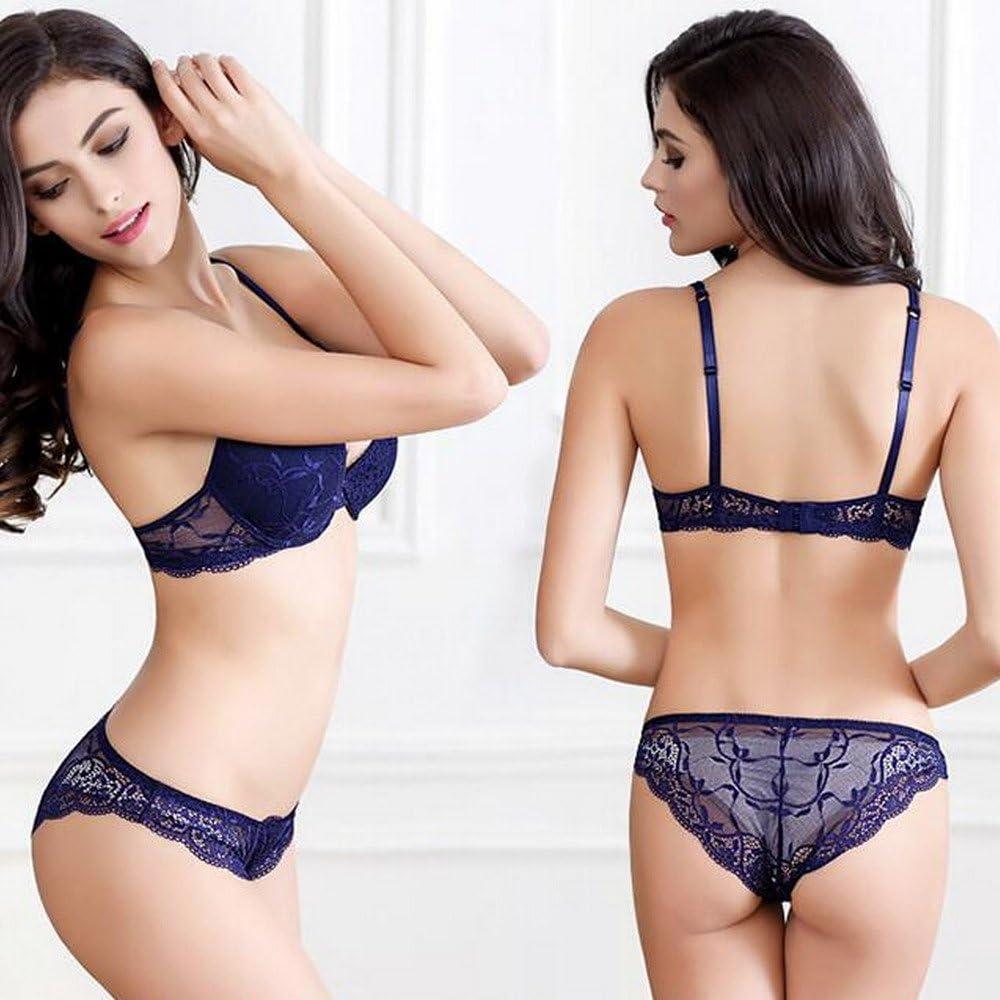 Super Push Up Sexy Bras Set Transparent Underwear Lingerie Lace Bra & Matching Panty for Women