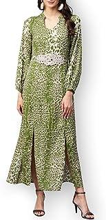 Zima Leto - Maxi abito da donna con stampa animalier, colore: Verde chiaro