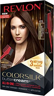 Revlon Colorsilk Buttercream Hair Dye, Dark Soft Mahogany Brown, Pack of 1
