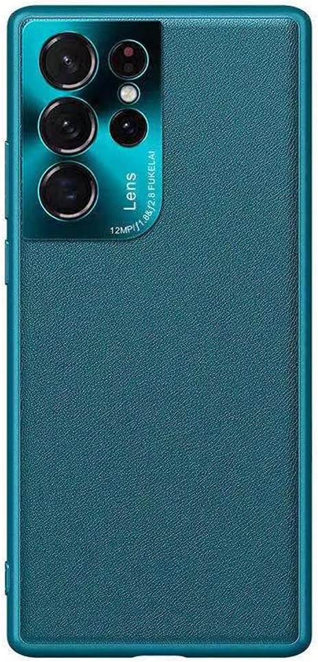 Case for Samsung Galaxy S21 Ultra Case,XLHLKP Samsung S21 Ultra Case 5G,Leather Quality with Full Metal Lens Back Design Back Slim Case for Samsung S21 Ultra in 6.8 inch (Leather Green)