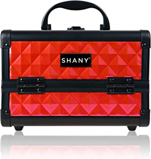 SHANY Mini Makeup Train Case with Mirror, Ruby Red