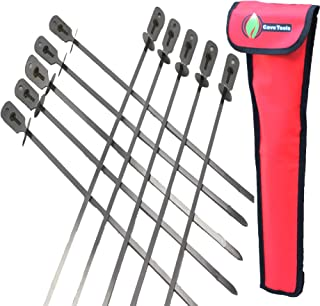 BBQ Skewers Set (10) - EXTRA LONG 17.3 INCH SHISH KABOB - Flat Stainless Steel Wide Metal Barbecue Cooking Sticks with Foo...