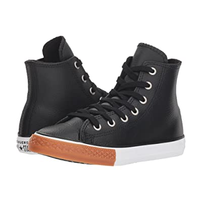 Converse Kids Chuck Taylor(r) All Star(r) Leather Hi (Little Kid/Big Kid) (Black/White/Gum Honey) Boy