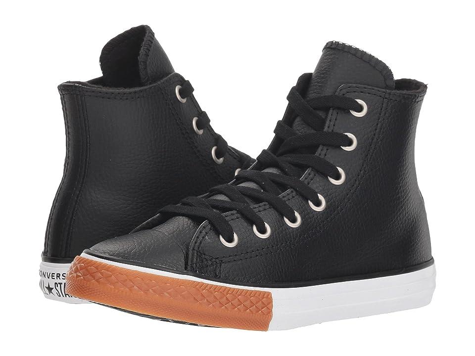 Converse Kids Chuck Taylor(r) All Star(r) Leather Hi (Little Kid/Big Kid) (Black/White/Gum Honey) Boy