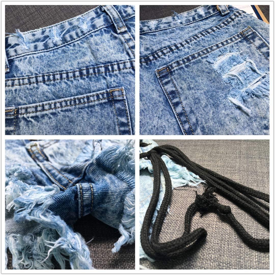 DFLYHLH High Waist Side Drawstring Micro Mini Jean Shorts for Women Sexy Casual Denim Shorts