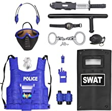 Ultimate All-in-One Kids Police Role Play Toy Kit - 15-Piece Policeman Pretend Play Set - SWAT Costume Accessories for Dress Up and Kids Costumes - Badge, Shield, Vest, Handcuffs Included