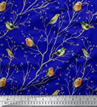 Soimoi Blue Cotton Voile Fabric Leaves & Flowerpecker Bird Print Sewing Fabric BTY 42 Inch Wide
