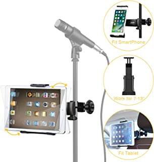 Moukey Mmsph-1 Mic Stand Tablet Holder, iPad Mount, Phone Holder for Microphone Music Stand, Car Headrest iPad Mount suitable for Smartphones Apple Samsung Galaxy Surface Pro/Book iPhone XR/XS/MAX/X/8