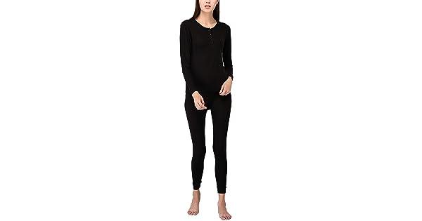 VDRNY Womens Sleepwear Knit Long Sleeve Henley and Pant Pajamas PJ Set Thermal Underwear Base Layer