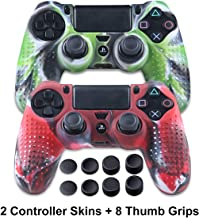PS4 Controller Silicone Skins - Anti-Slip PS4 Grip Controller Covers - Protector Accessories for PS4 Slim/Pro - 2 Pack PS4 Controller Cases - 4 Pairs Thumb Grips for PS4 - Camo Green & Camo Red