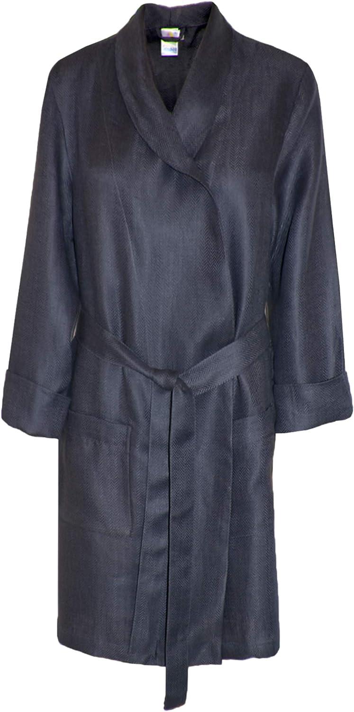 Armani International Fitted Lounge Robe Sateen Linen Medium Smokey-Grey