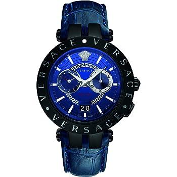 Versace v-race orologio dual time pvd nero cinturino blu swiss made VEBV00419