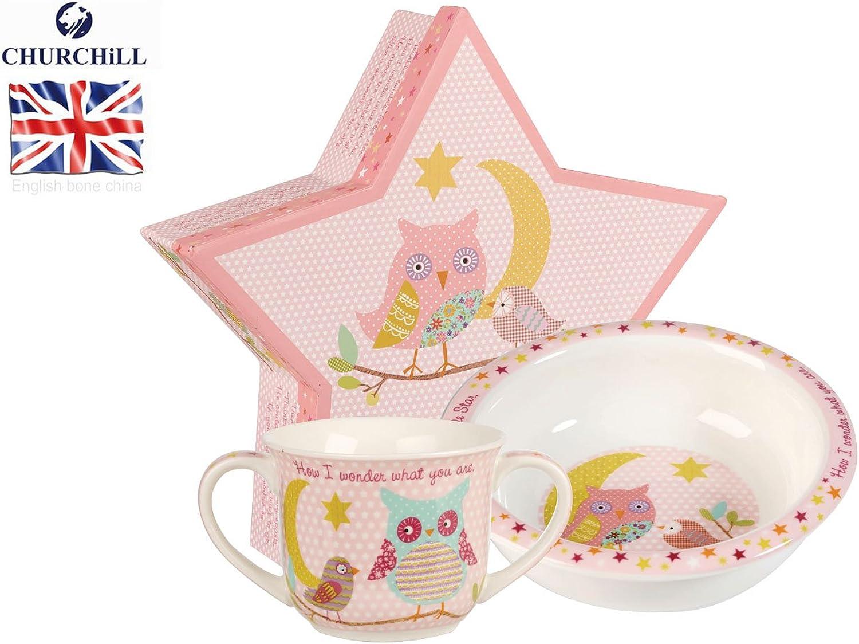 Little Rhymes Twinkle Twinkle Pink Porringer & Mug Set Gift Boxed by Little Rhymes