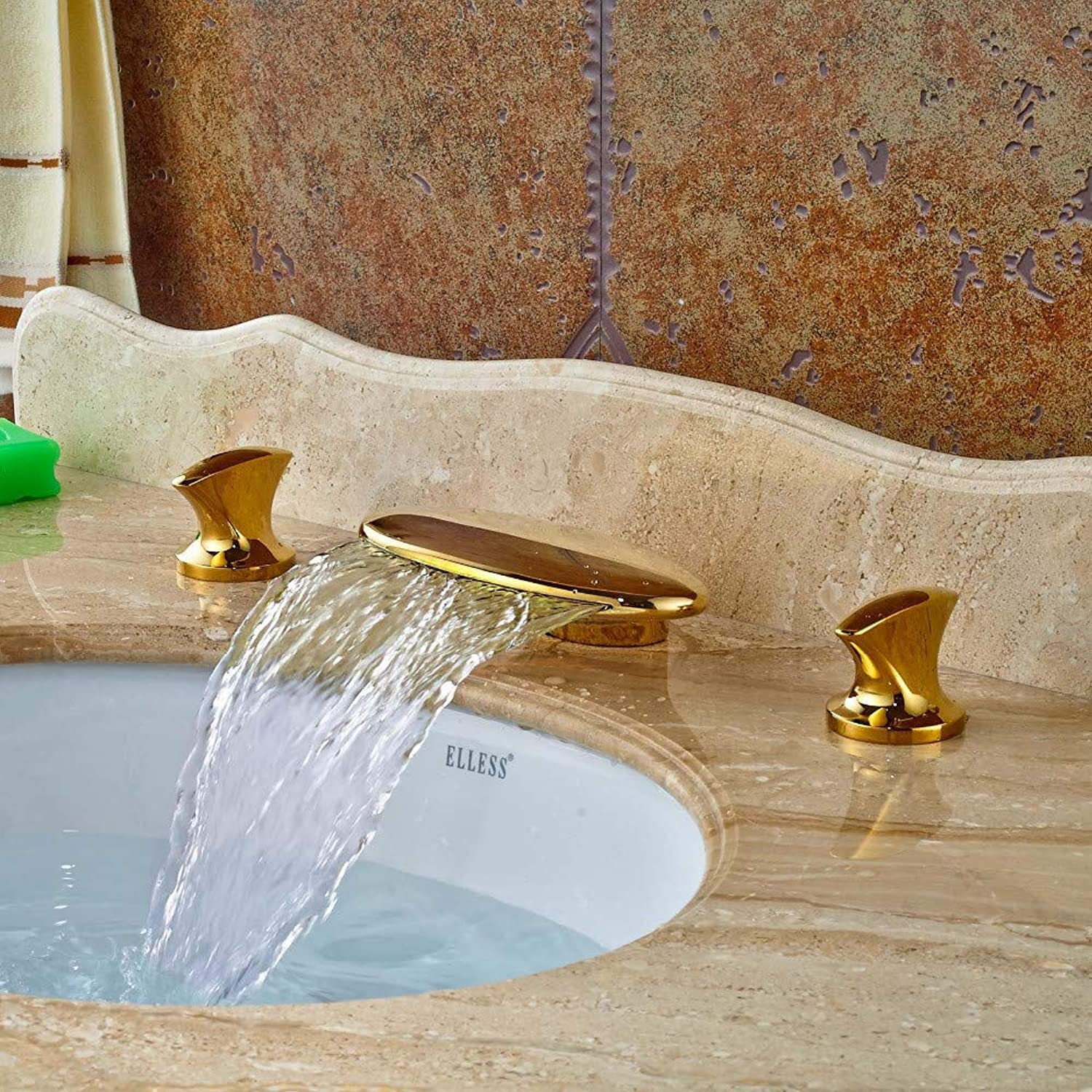 Floungey Kitchen Sink Taps Bathroom Sink Taps Led Light Widespread 8  Sink golden Brass Bathroom Basin Faucet Waterfall Spout Dual Handles Vanity Sink Mixer Tap