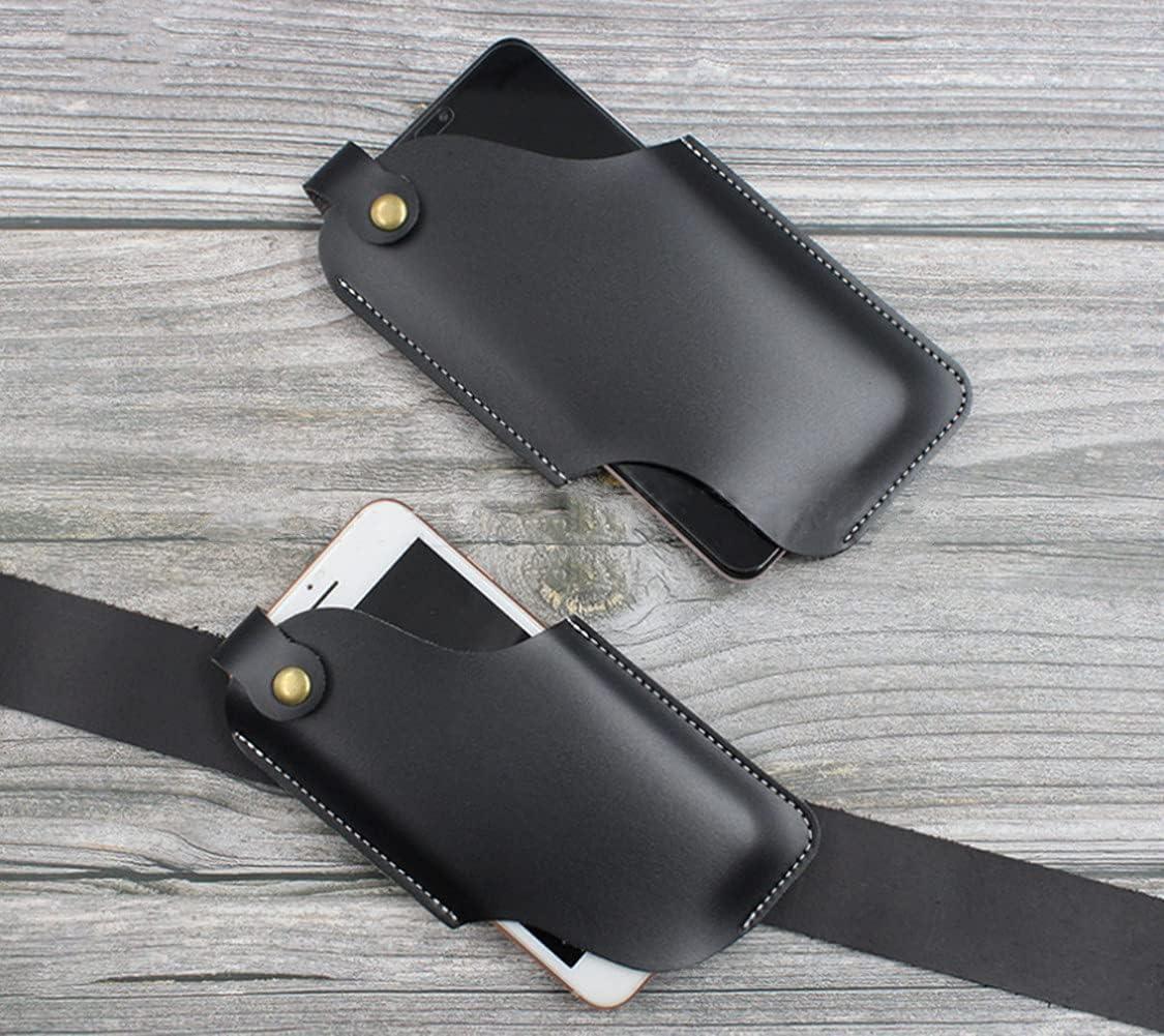 MMCCHB Men Universal Case Waist Bag ,Outdoor Leather EDC Belt Bag Leather Belt Cover Holster Mobile Phone Bag, Men's Mobile Phone Belt Bag Ring Waist Holster Bag Cover (Black)