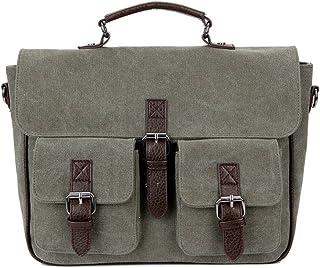 Men's Accessories Men's Canvas Vintage Style Briefcase Shoulder Messenger Crossbody for Business,Brown/Green/Khaki Outdoor Recreation (Color : Green)