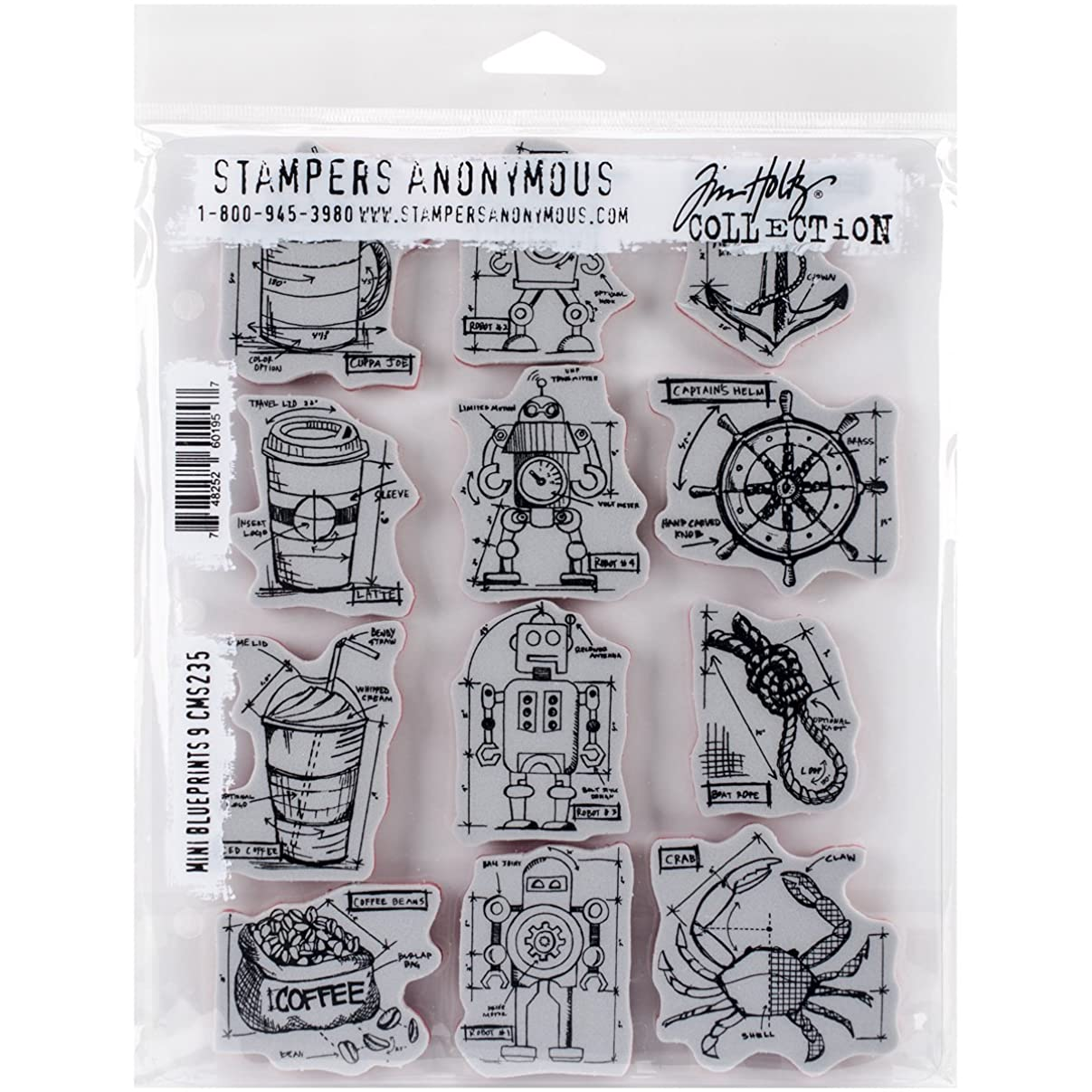 Stampers Anonymous Tim Holtz Cling Rubber Mini Blueprints No.9 Stamp Set, 7 x 8.5 d24001883797007