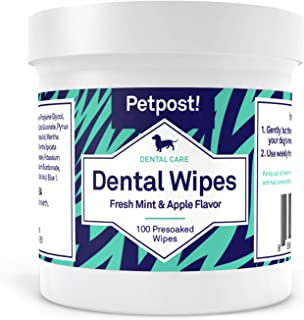 Petpost | Dental Wipes for Dogs - Bad Breath, Plaque and Tooth Decay Gone - 100 Presoaked Pads in Natural T...