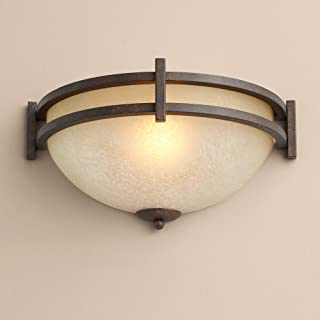 Oak Valley Collection Mission Cottage Wall Light Sconce Rustic Bronze Hardwired 14 1/2