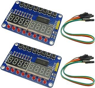 KKHMF 2個 TM1638 8ビット LED デジタル チューブ 8キー ディスプレイ ボタン 電子モジュール AVR Arduino ARMに対応