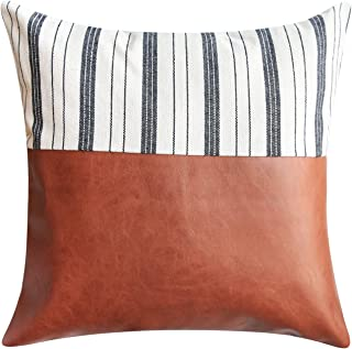 Faux Leather Throw Pillow Cover - 18 x 18 Inches - Sofa, Den Pillow Cover Decor - Bedroom, Sunroom, Living Room, Decor - Modern, Bohemian, Farmhouse Pillow Covers - Outdoor Cushion Pillow Cover